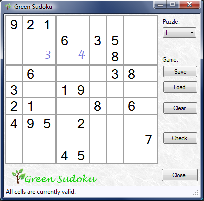 Green Sudoku Screenshot